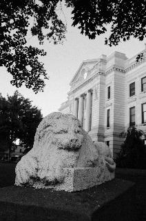 Courthouse Lion BW